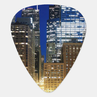 Night view of cityscape of Chicago Guitar Pick