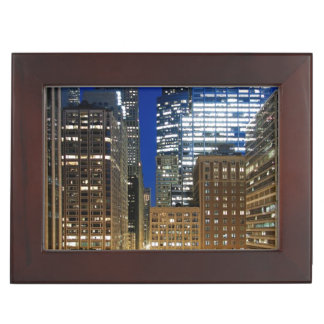 Night view of cityscape of Chicago Keepsake Box