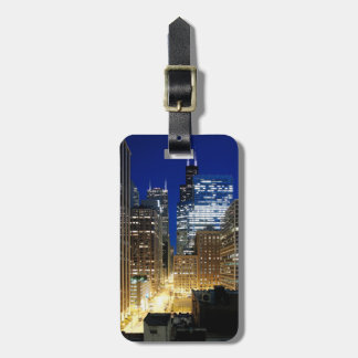 Night view of cityscape of Chicago Luggage Tag