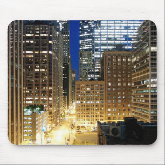 Night view of cityscape of Chicago Mouse Mat
