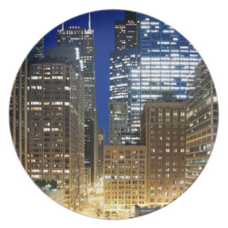 Night view of cityscape of Chicago Plate