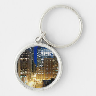 Night view of cityscape of Chicago Silver-Colored Round Key Ring