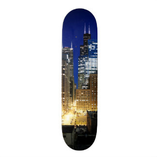 Night view of cityscape of Chicago Skate Boards