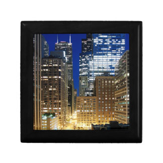 Night view of cityscape of Chicago Small Square Gift Box
