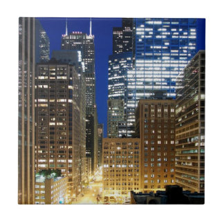 Night view of cityscape of Chicago Small Square Tile