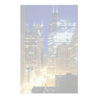Night view of cityscape of Chicago Stationery Paper