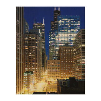 Night view of cityscape of Chicago Wood Wall Decor