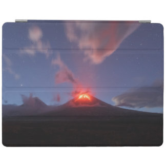 Night view of eruption active volcano iPad cover