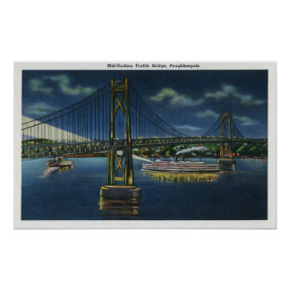 Night View of Mid-Hudson Traffic Bridge Poster
