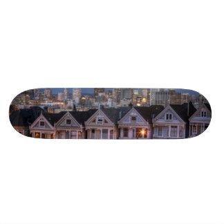 Night view of 'painted ladies'  houses 20.6 cm skateboard deck