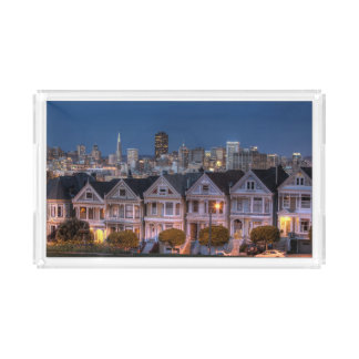 Night view of 'painted ladies'  houses acrylic tray