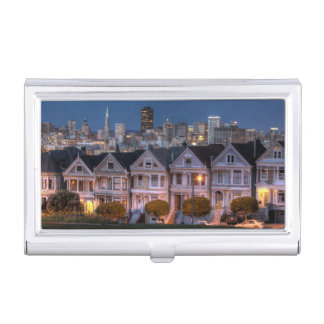 Night view of 'painted ladies'  houses business card holder