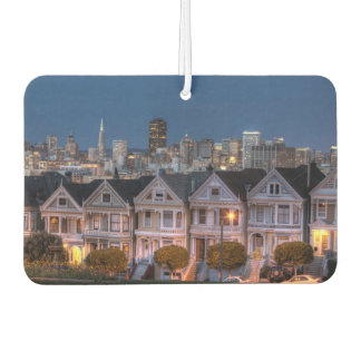 Night view of 'painted ladies'  houses car air freshener
