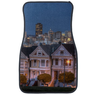 Night view of 'painted ladies'  houses car mat