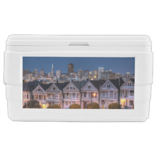 Night view of 'painted ladies'  houses chest cooler