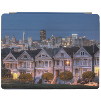 Night view of 'painted ladies'  houses iPad cover