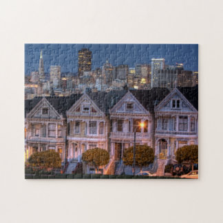 Night view of 'painted ladies'  houses jigsaw puzzle