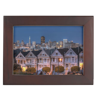 Night view of 'painted ladies'  houses memory boxes