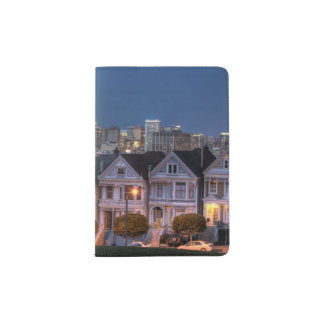 Night view of 'painted ladies'  houses passport holder