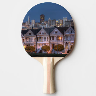Night view of 'painted ladies'  houses ping pong paddle
