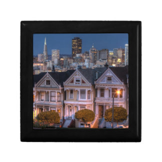 Night view of 'painted ladies'  houses small square gift box