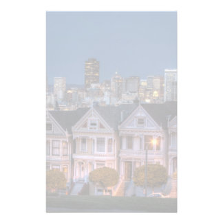 Night view of 'painted ladies'  houses stationery