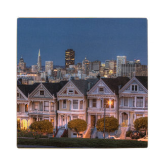 Night view of 'painted ladies'  houses wood coaster