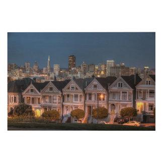 Night view of 'painted ladies'  houses wood print