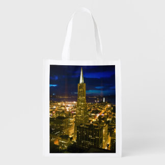 Night view of San Francisco. Reusable Grocery Bag