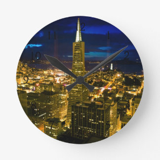Night view of San Francisco. Round Clock