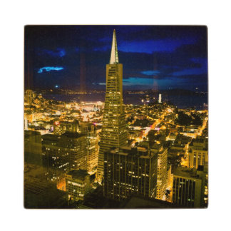 Night view of San Francisco. Wood Coaster