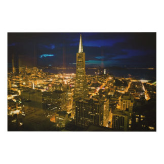 Night view of San Francisco. Wood Wall Art