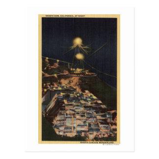Night View of Shasta Dam Postcard