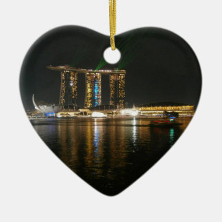 Night view of Singapore Ceramic Heart Decoration