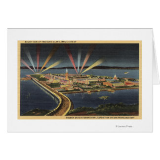 Night View of Treasure Island, Internat'l Expo Greeting Card