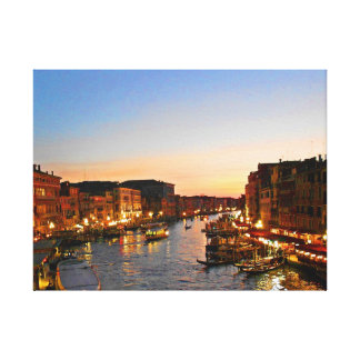 Night View of Venice's Grand Canal Gallery Wrapped Canvas