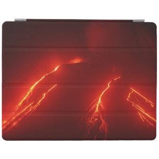 Night volcanic eruption: luminous lava flow iPad cover