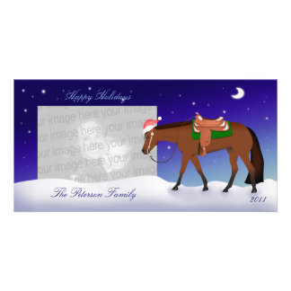 Night Western Horse Holiday Photo Card