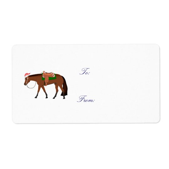 Night Western Horse Holiday Tag Shipping Label