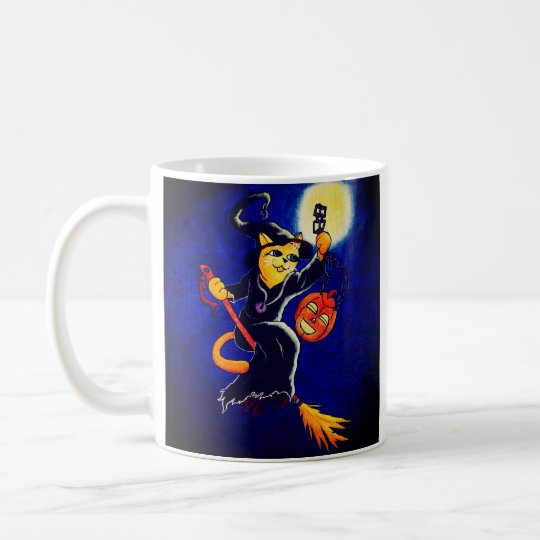 Night Witch Cat Coffee Mug