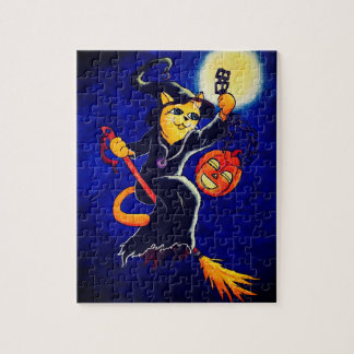 Night Witch Cat Jigsaw Puzzle
