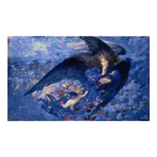 Night with Her Train of Stars Fine Art Angel Poster