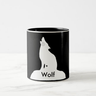 night wolf Two-Tone coffee mug