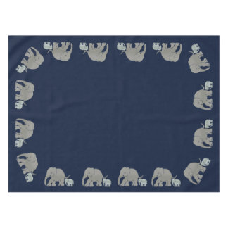 NightblueColor with Revolving Cute Elephant Border Tablecloth