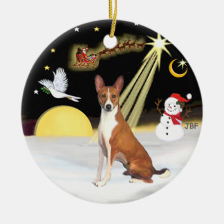 NightFlight-  Basenji Round Ceramic Decoration