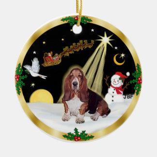 NightFlight-  Basset Hound Christmas Ornament