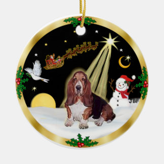 NightFlight-  Basset Hound Round Ceramic Decoration
