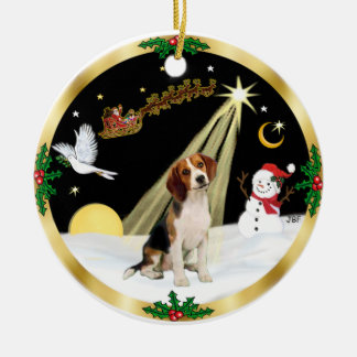 NightFlight-  Beagle Christmas Ornament