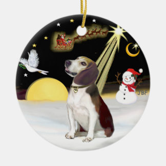 NightFlight-  Beagle (looking up) Christmas Ornament