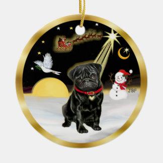 NightFlight-  Black Pug (#13) Christmas Ornament